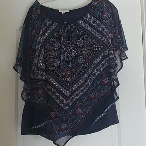 Blue and red flowy top